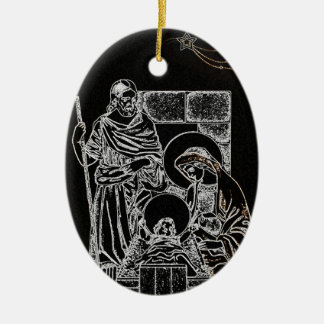 Black and Gold Nativity Christmas Ornament