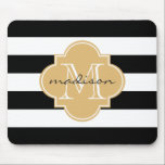 "Black and Gold Nautical Stripes Custom Monogram Mouse Pad<br><div class=""desc"">Add some style to your work or home office with this chic black and white stripes with a custom personalized gold quatrefoil monogram mouse pad. To change the fonts or font colors,  click the &quot;Customize It&quot; button below the product image.</div>"