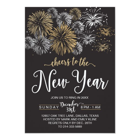 Black And Gold New Year S Eve Party Invitations