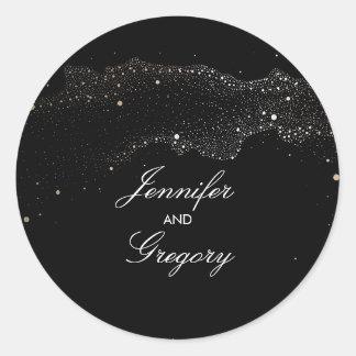 Black and Gold Night Stars Modern Wedding Classic Round Sticker