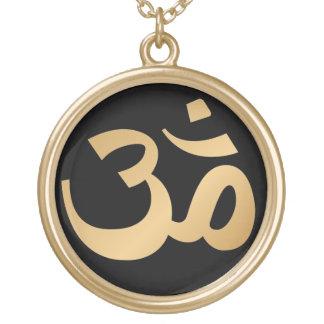 Black and Gold Om Symbol Necklace