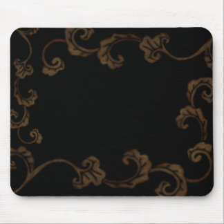 Black And Gold Ornate Leaves Mouse Pad