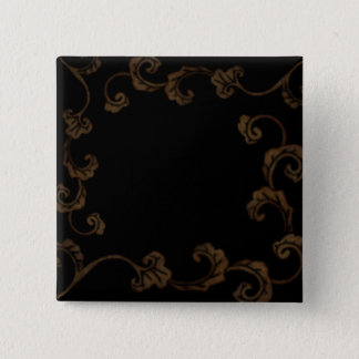 Black And Gold Ornate Leaves Pinback Button