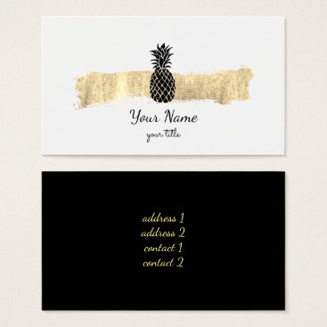 Professional Business black and gold paint stroke pineapple business card