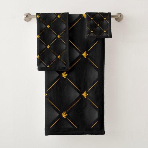 Black and Gold Pattern Bathroom Towel Set