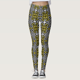 Black and Gold Pattern Leggings ★Funky Aztec★