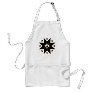 BLACK AND GOLD PEACE STAR ADULT APRON