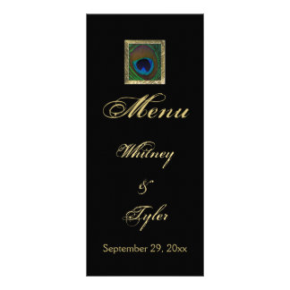 Black and Gold Peacock Feather Menu Card Custom Rack Card