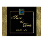 Black and Gold Peacock Feather Save the Date Card Postcard