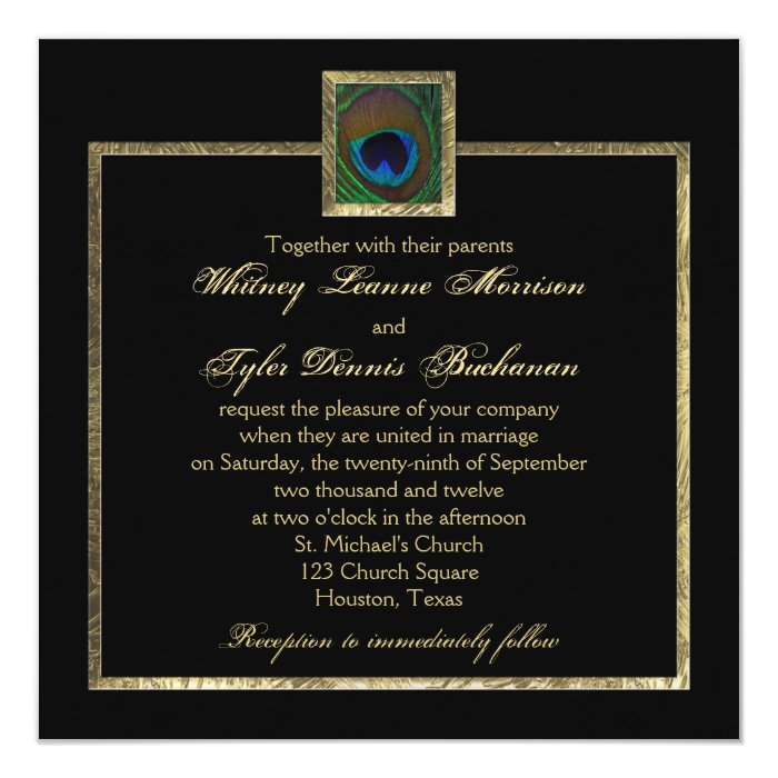 Together With Their Parents Wedding Invitation: Black And Gold Peacock Feather Wedding Invitation