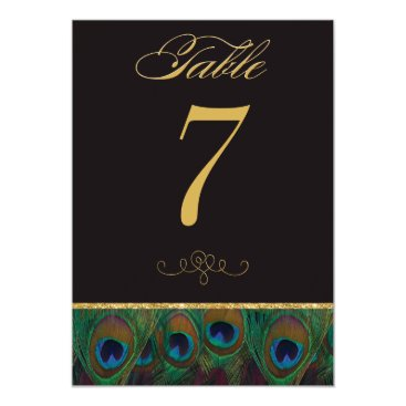 Black and Gold Peacock Feathers Table Number 5x7 Paper Invitation Card