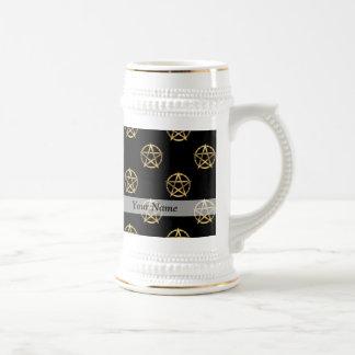 Black and gold pentagram beer stein