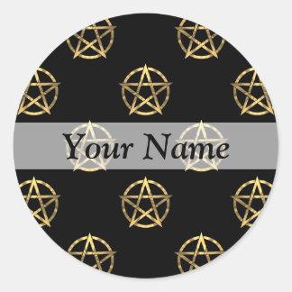 Black and gold pentagram classic round sticker
