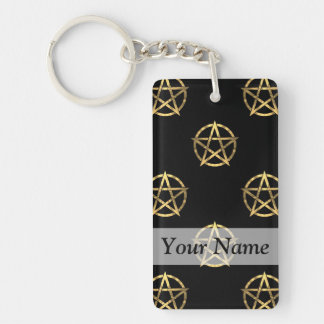 Black and gold pentagram Double-Sided rectangular acrylic keychain