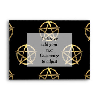 Black and gold pentagram envelope