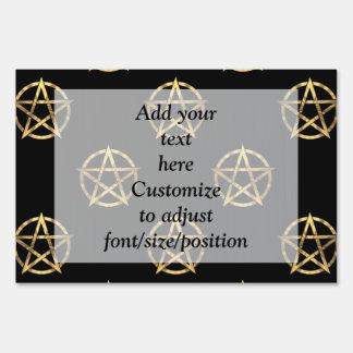 Black and gold pentagram lawn sign