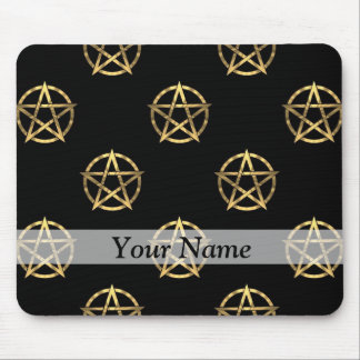 Black and gold pentagram mouse pad