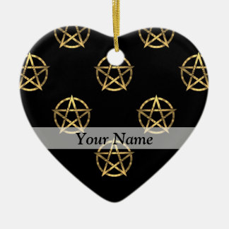 Black and gold pentagram christmas tree ornament