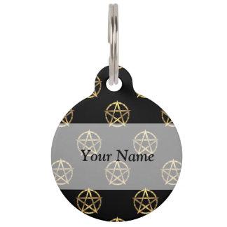 Black and gold pentagram pet name tag