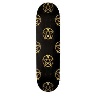 Black and gold pentagram skateboard