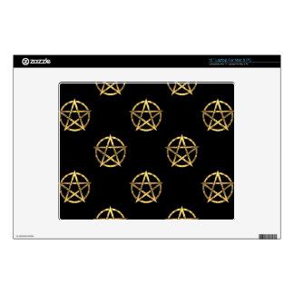 Black and gold pentagram decals for laptops