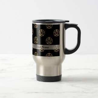 Black and gold pentagram travel mug