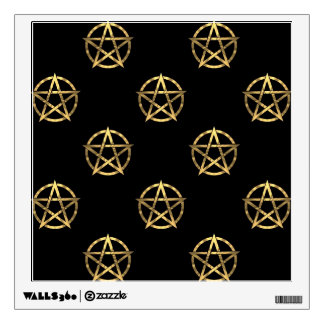Black and gold pentagram wall decal
