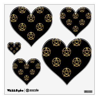 Black and gold pentagram wall sticker