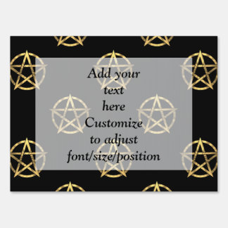 Black and gold pentagram yard sign