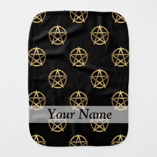 Black and gold pentagram baby burp cloth