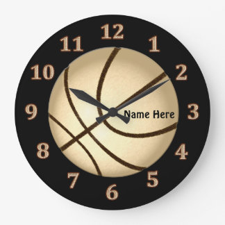 Black and Gold Personalized Basketball Wall Clocks