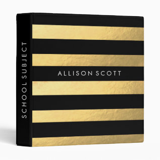 Black And Gold Personalized Binder at Zazzle