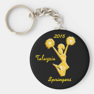 Black and Gold Personalized Cheer Keychains