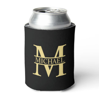 Black and Gold Personalized Monogram and Name Can Cooler
