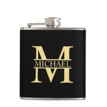 Black and Gold Personalized Monogram and Name Flask