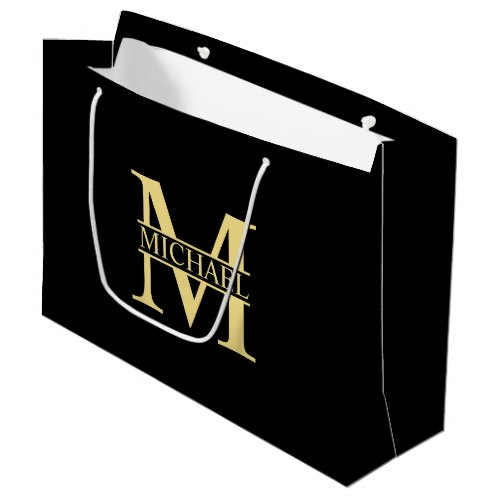 Black and Gold Personalized Monogram and Name Large Gift Bag