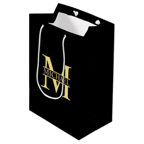 Black and Gold Personalized Monogram and Name Medium Gift Bag