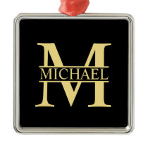 Black and Gold Personalized Monogram and Name Metal Ornament