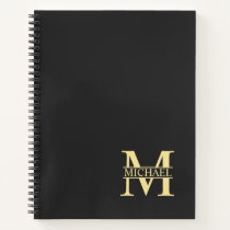 Black and Gold Personalized Monogram and Name Notebook