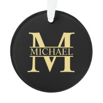 Black and Gold Personalized Monogram and Name Ornament