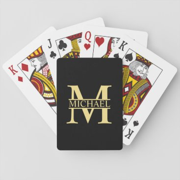 Black and Gold Personalized Monogram and Name Playing Cards
