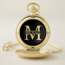 Black and Gold Personalized Monogram and Name Pocket Watch