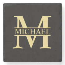 Black and Gold Personalized Monogram and Name Stone Coaster