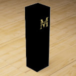 """Black and Gold Personalized Monogram and Name Wine Box<br><div class=""""desc"""">Personalized Monogram and Name Gift Box featuring personalized monogram in gold classic serif font style with box of name in the middle of monogram on black background. Perfect gift box for holiday, wedding and any special occasions. Please note : The foil details are simulated in the artwork. No actual foil...</div>"""