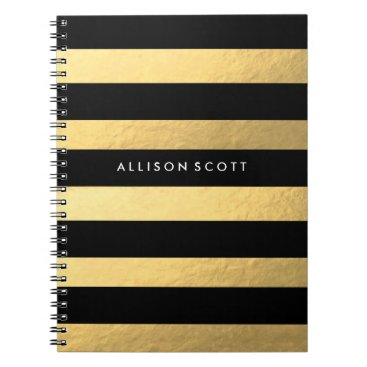 coffeecatdesigns Black And Gold Personalized Notebook