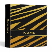 Black and Gold Personalized Tiger School Binder