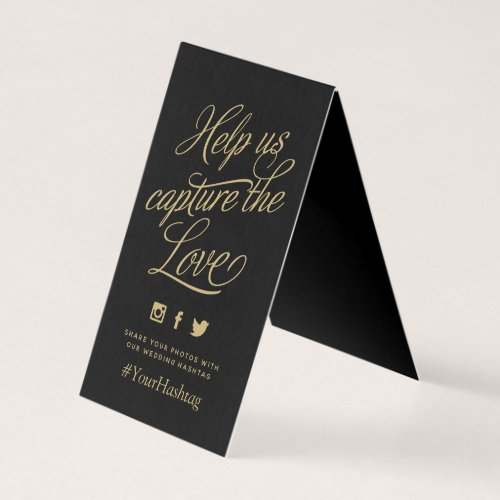 Black and Gold Personalized Wedding Hashtag Sign