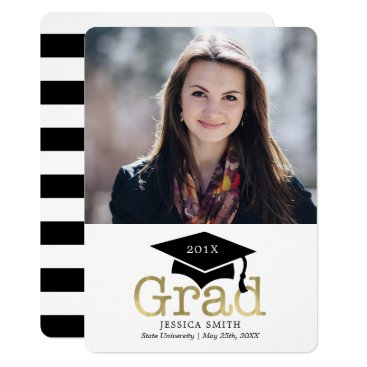 Beach Themed Black and Gold Photo Graduation Announcements