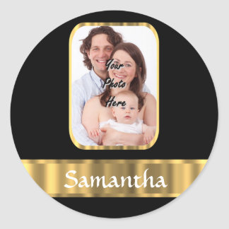 Black and gold photo template classic round sticker