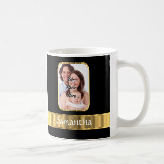 Black and gold photo template coffee mug